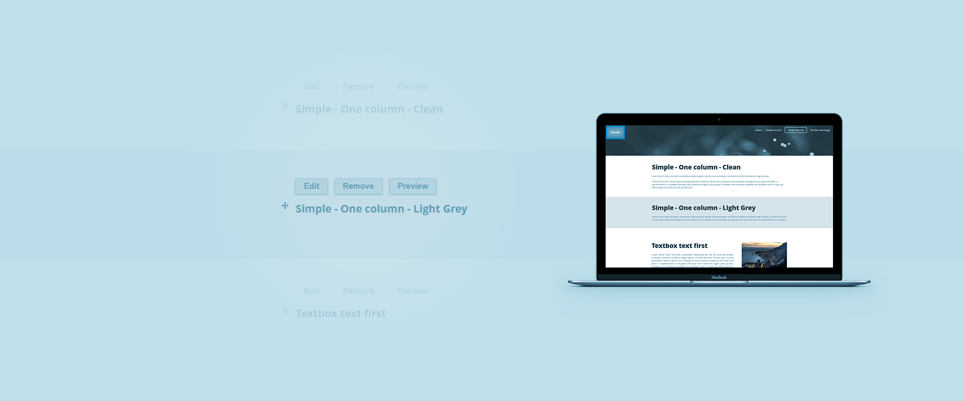 Use Parade for onepage sites or pages with dynamic layout