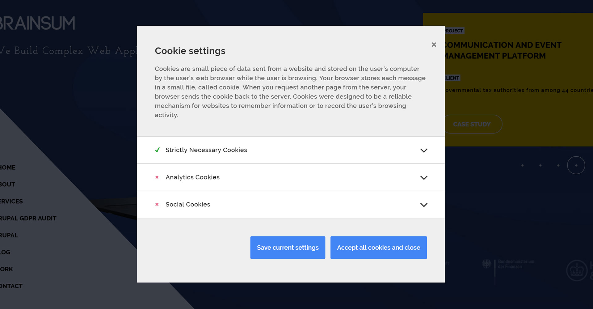 Open source cookie consent tool by BRAINSUM and Tieto